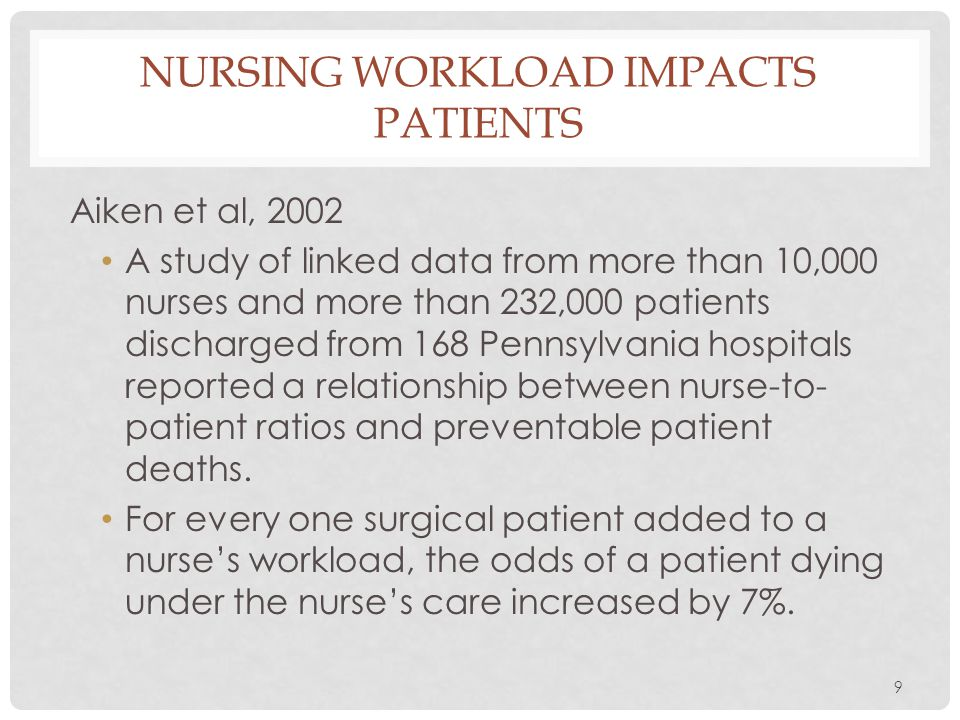 Nursing workload impacts patients