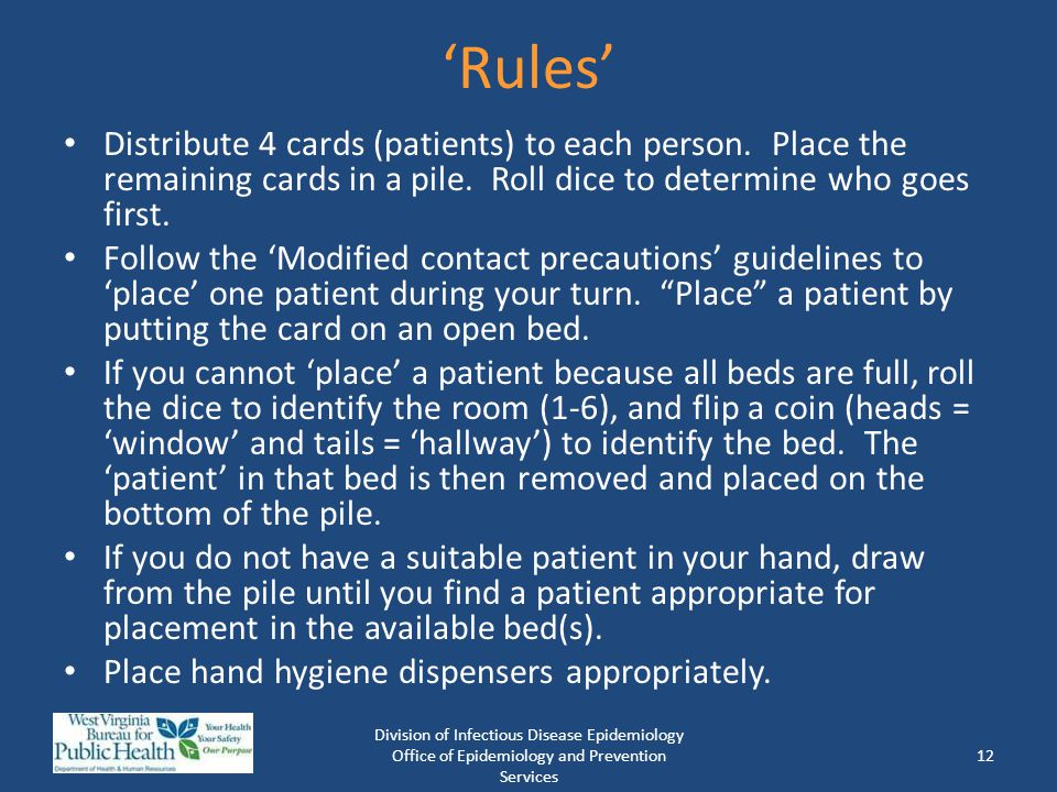 'Rules' Distribute 4 cards (patients) to each person. Place the remaining cards in a pile. Roll dice to determine who goes first.