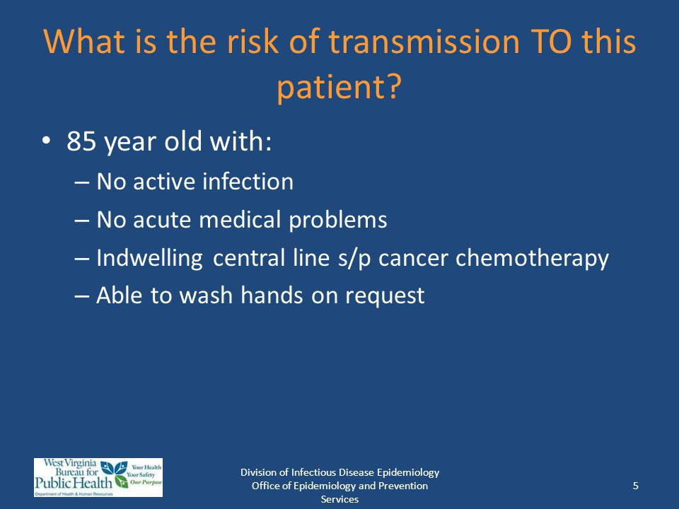 What is the risk of transmission TO this patient