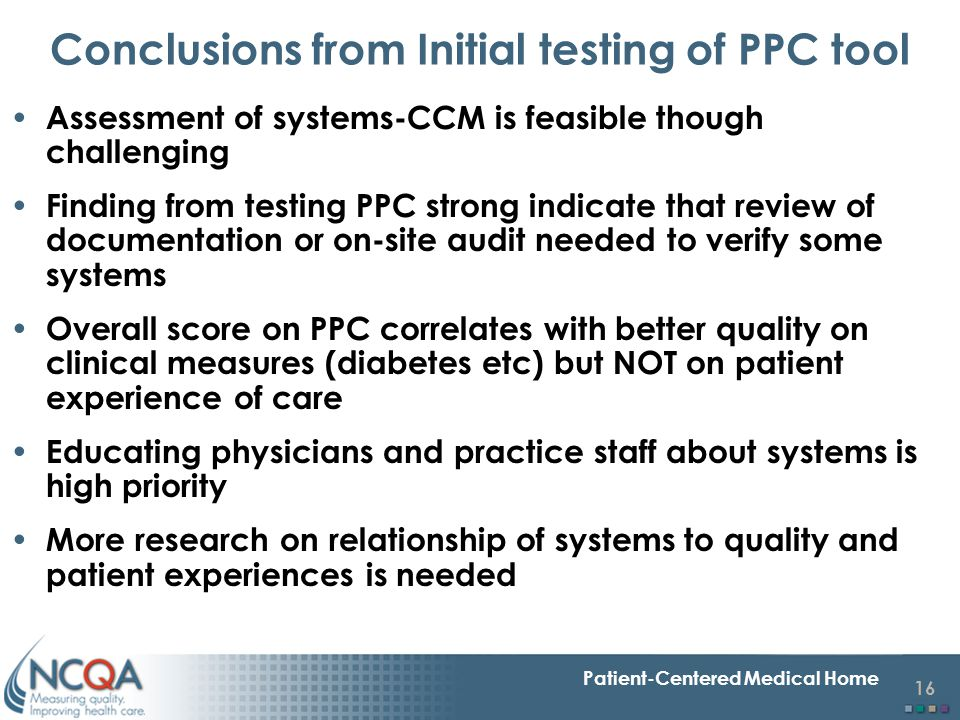 Conclusions from Initial testing of PPC tool
