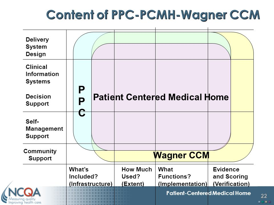 Content of PPC-PCMH-Wagner CCM Patient Centered Medical Home