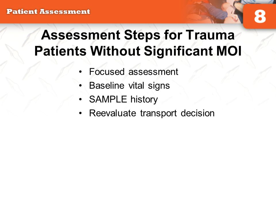 Assessment Steps for Trauma Patients Without Significant MOI