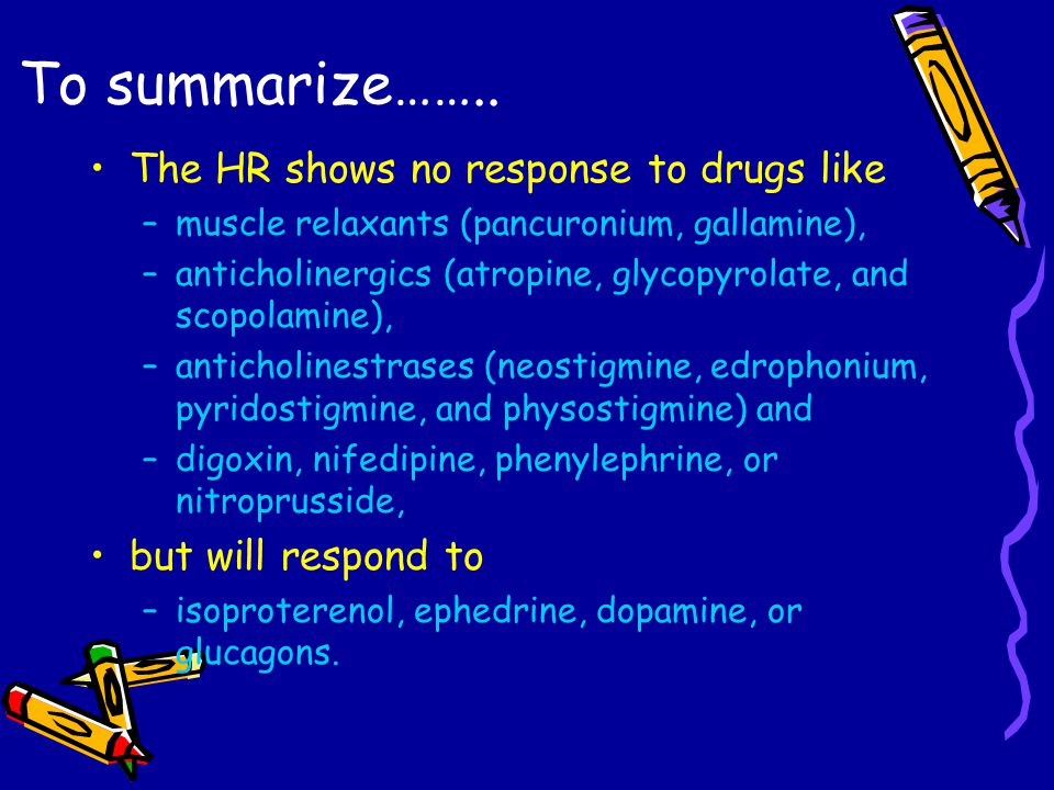 To summarize…….. The HR shows no response to drugs like