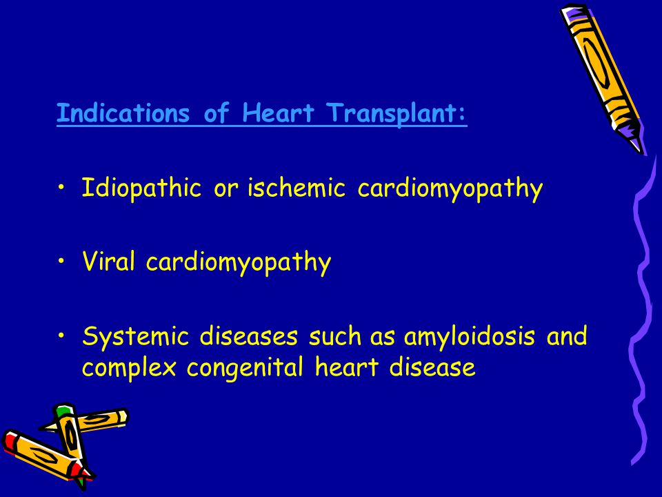 Indications of Heart Transplant: