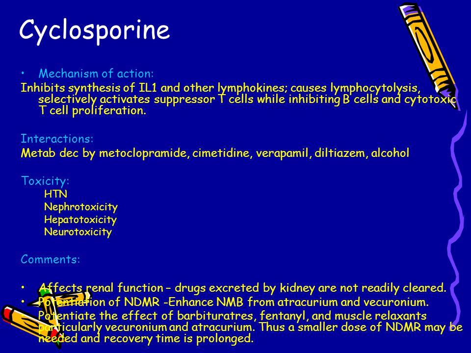 Cyclosporine Mechanism of action: