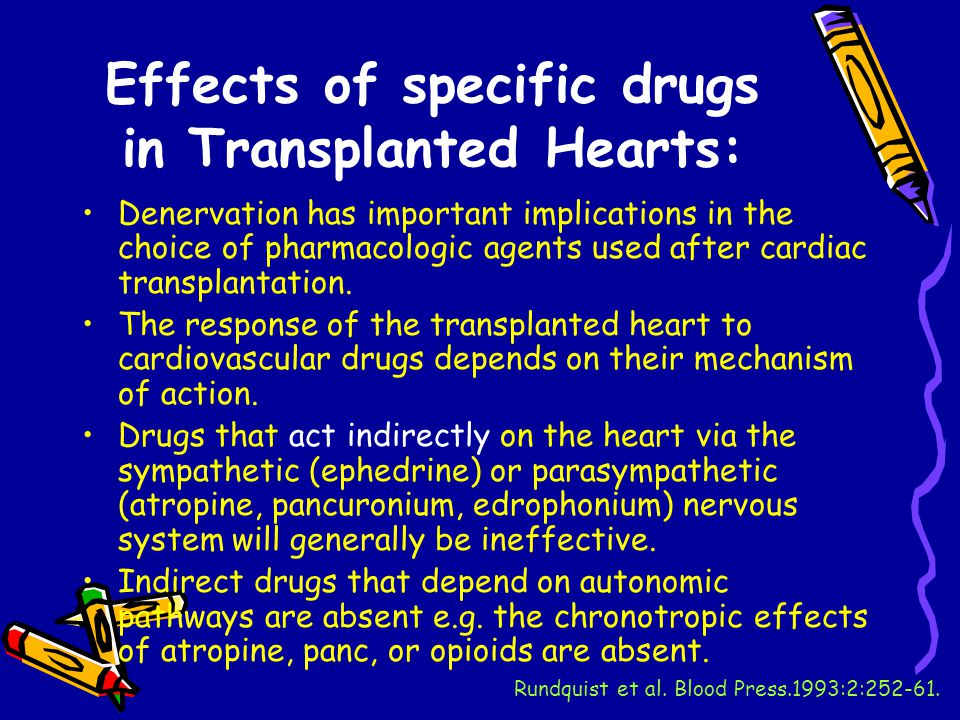 Effects of specific drugs in Transplanted Hearts: