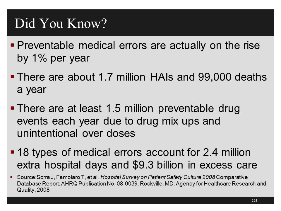 Did You Know Preventable medical errors are actually on the rise by 1% per year. There are about 1.7 million HAIs and 99,000 deaths a year.