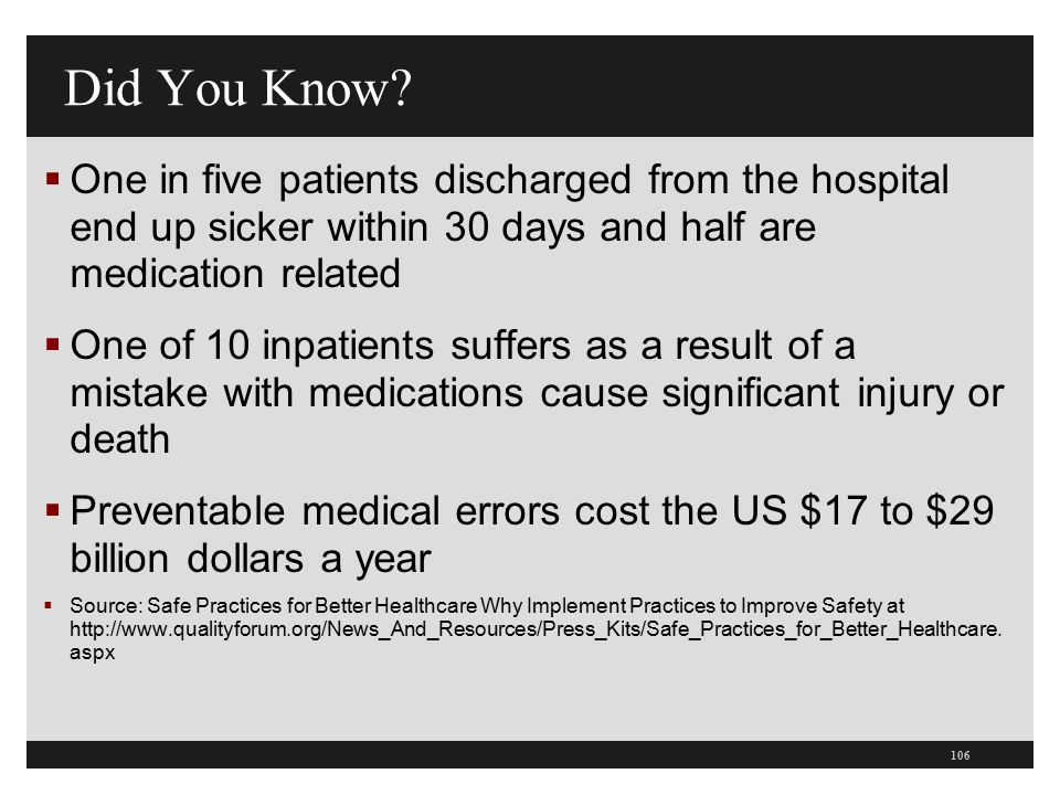 Did You Know One in five patients discharged from the hospital end up sicker within 30 days and half are medication related.