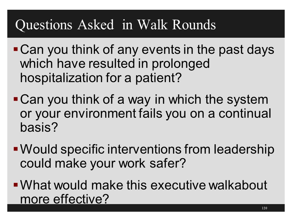 Questions Asked in Walk Rounds