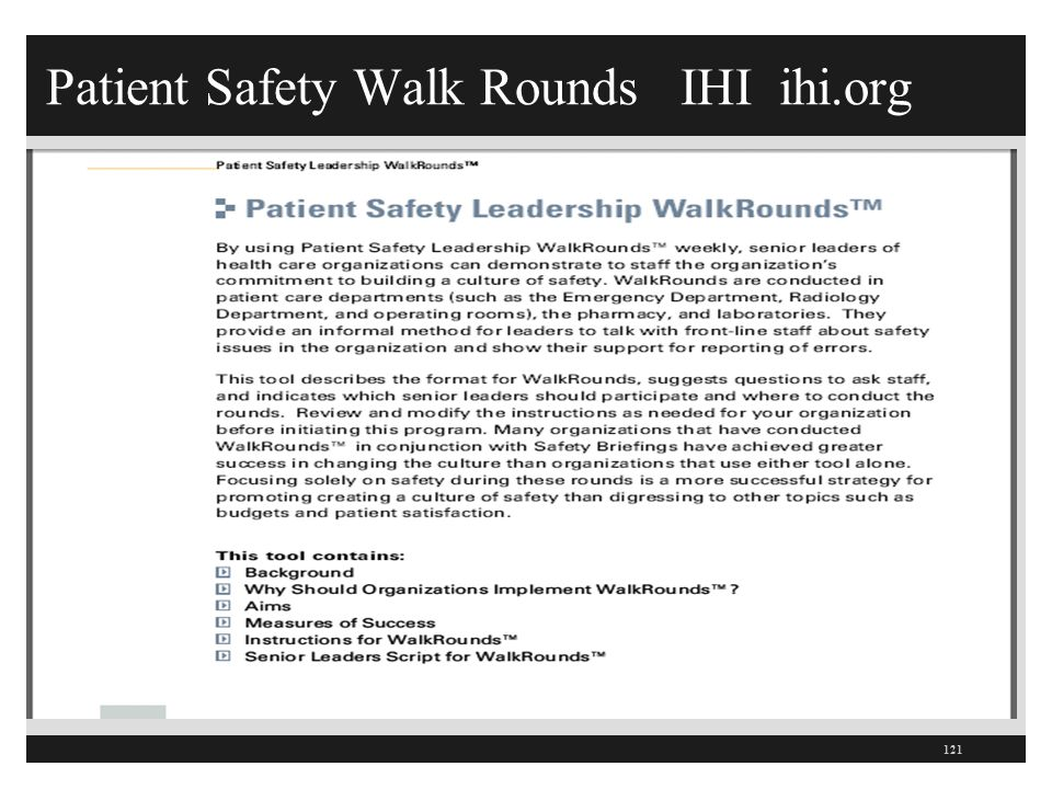Patient Safety Walk Rounds IHI ihi.org