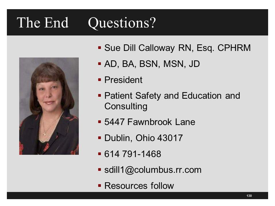 The End Questions Sue Dill Calloway RN, Esq. CPHRM