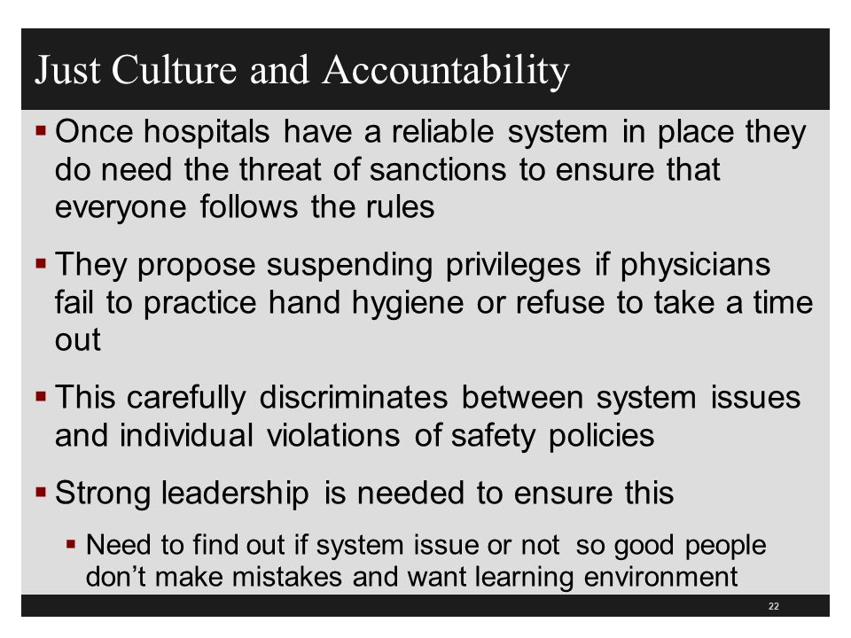 Just Culture and Accountability