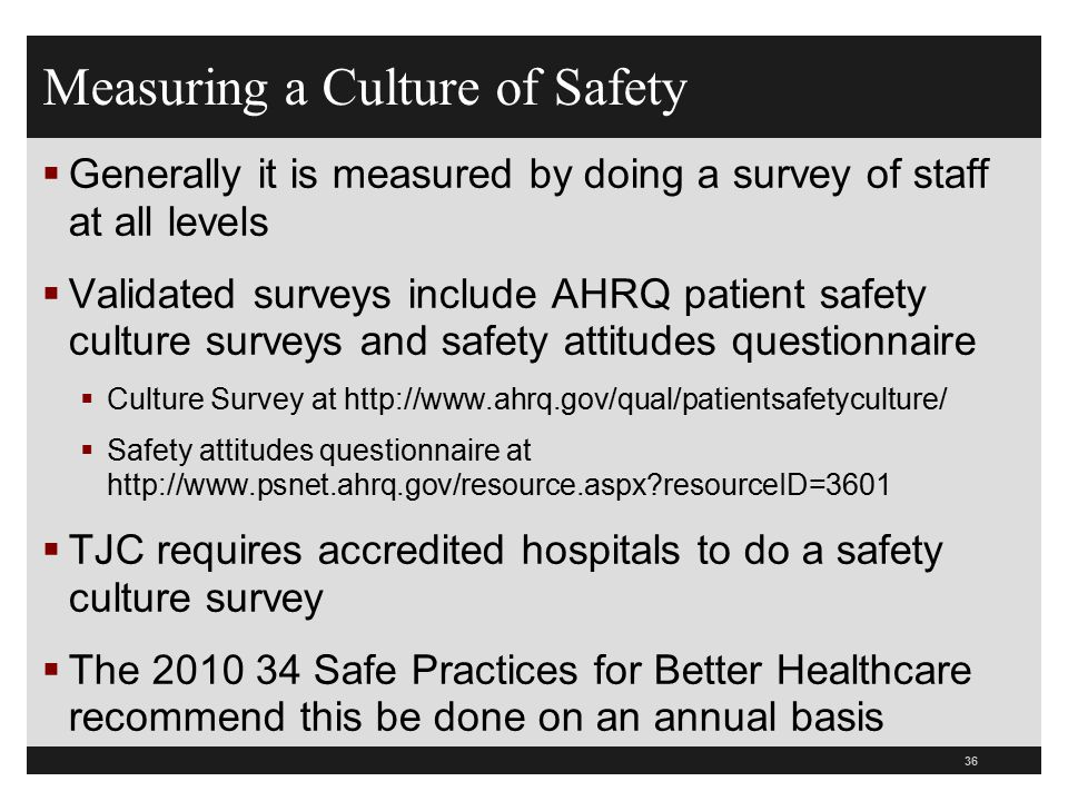 Measuring a Culture of Safety