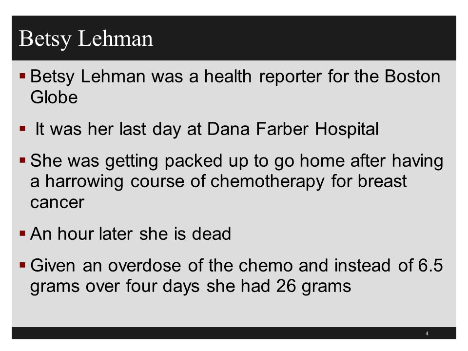 Betsy Lehman Betsy Lehman was a health reporter for the Boston Globe