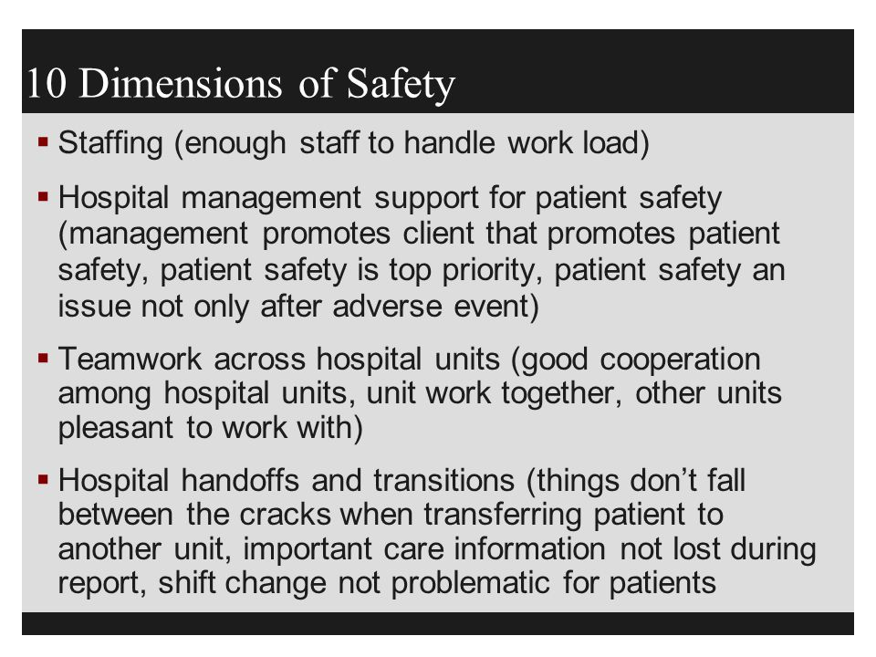 10 Dimensions of Safety Staffing (enough staff to handle work load)
