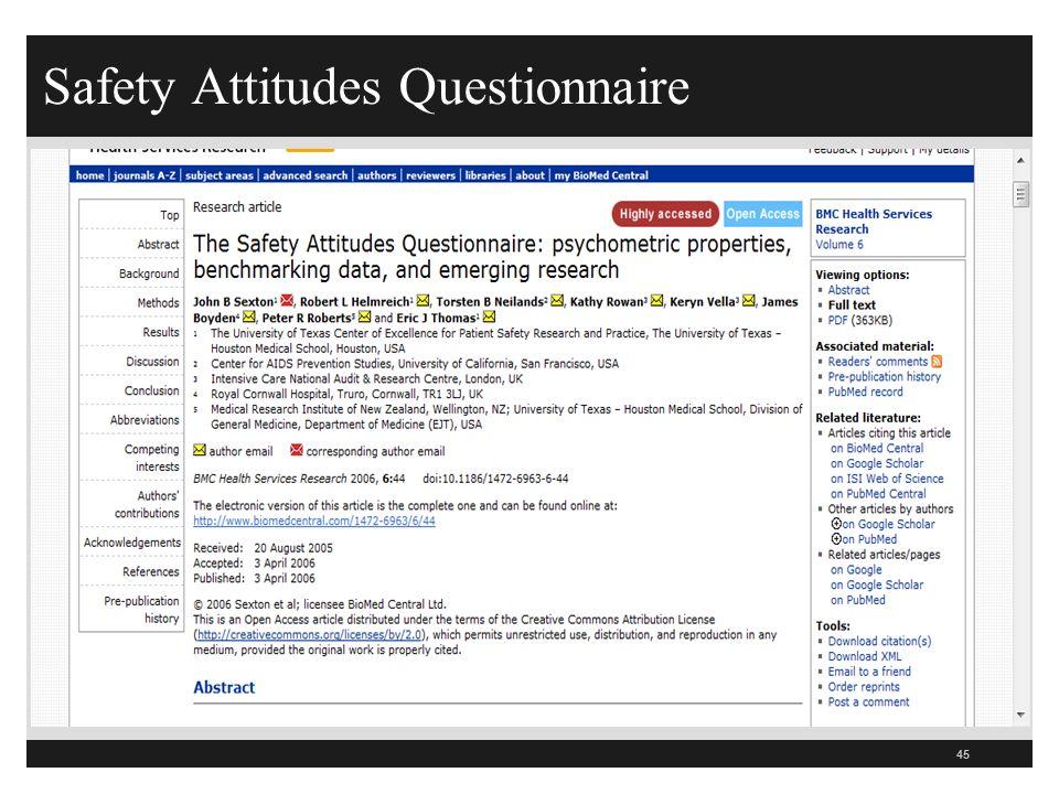 Safety Attitudes Questionnaire