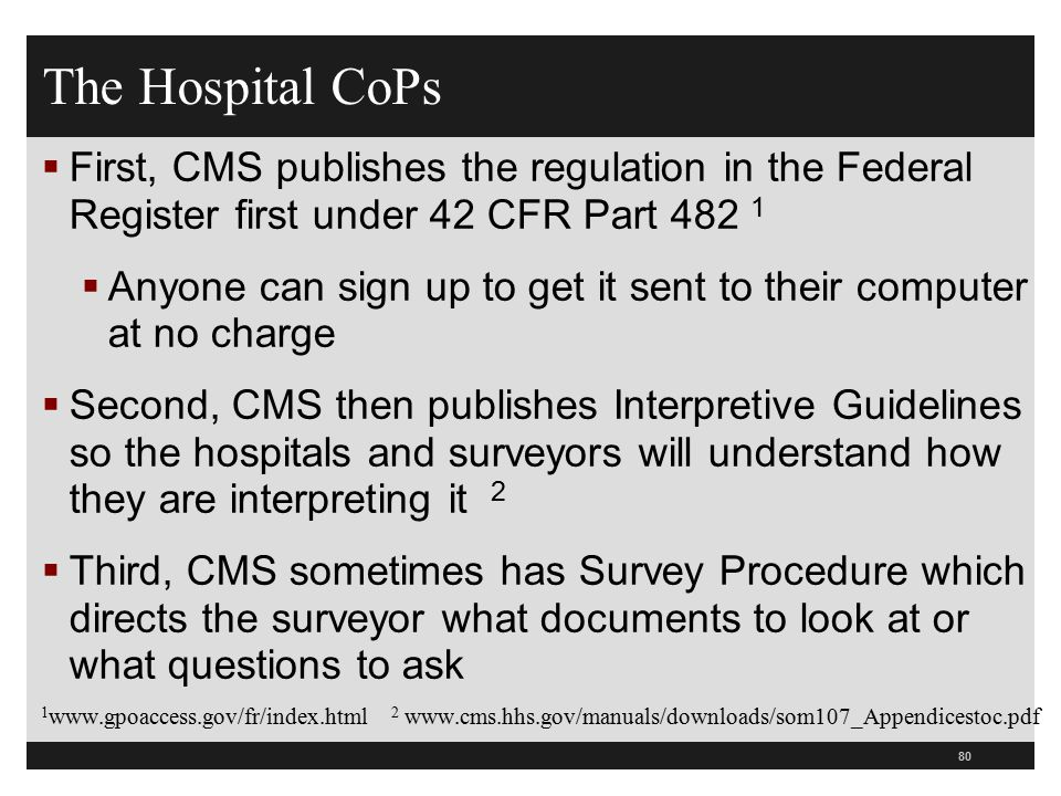 The Hospital CoPs First, CMS publishes the regulation in the Federal Register first under 42 CFR Part 482 1.