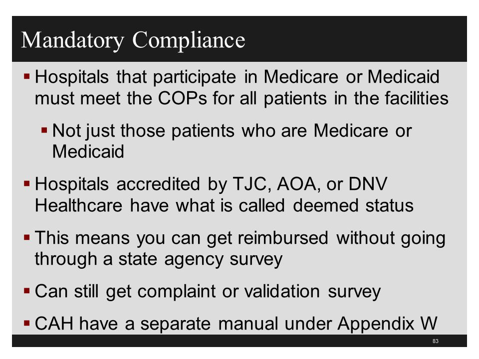 Mandatory Compliance Hospitals that participate in Medicare or Medicaid must meet the COPs for all patients in the facilities.