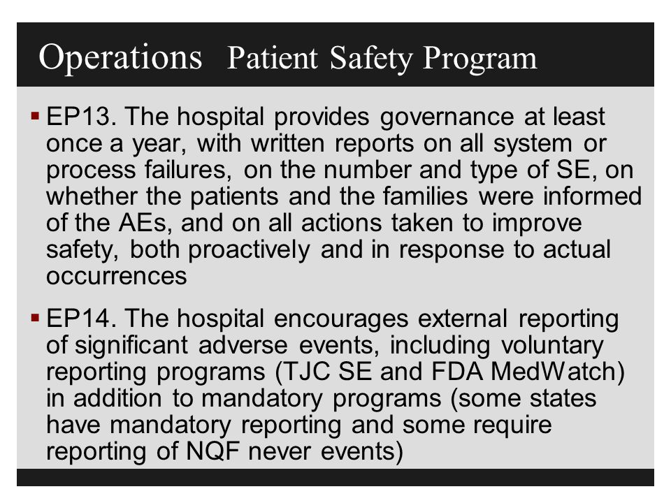 Operations Patient Safety Program