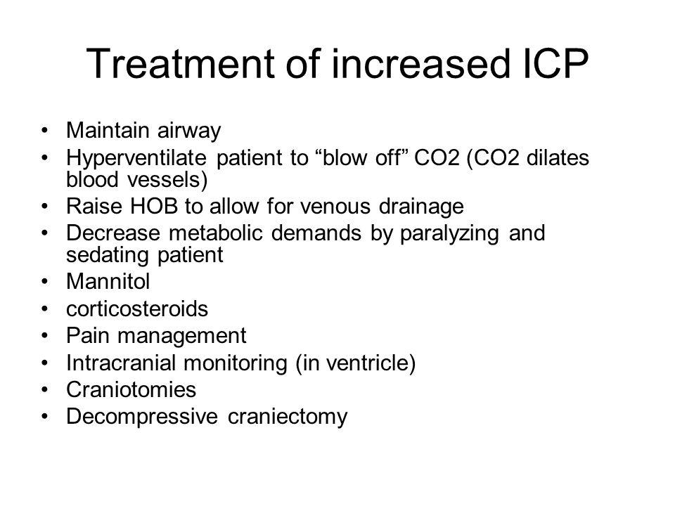 Treatment of increased ICP