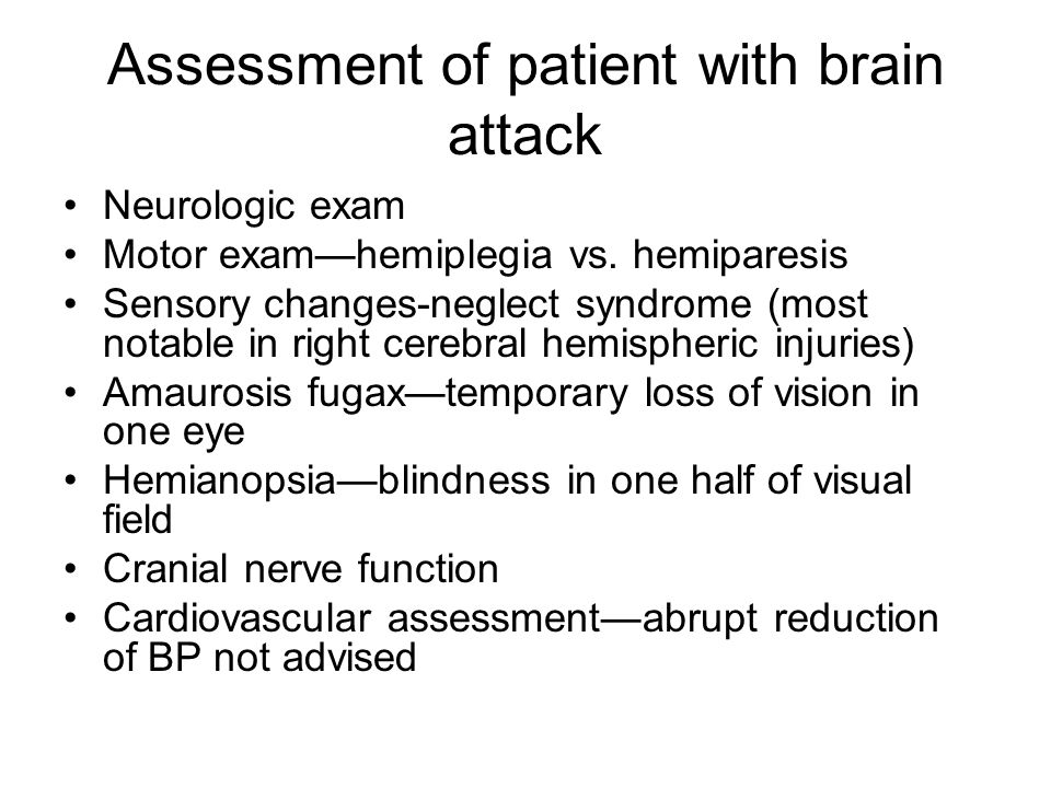 Assessment of patient with brain attack