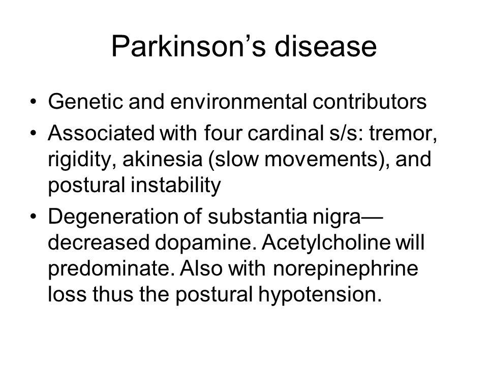 Parkinson's disease Genetic and environmental contributors