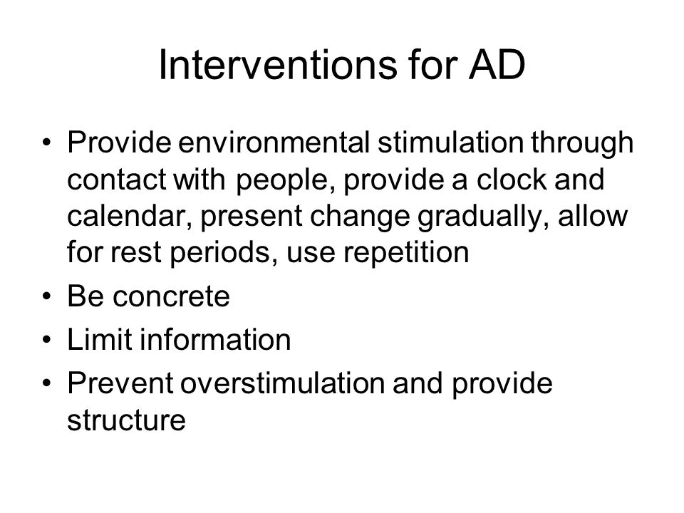 Interventions for AD