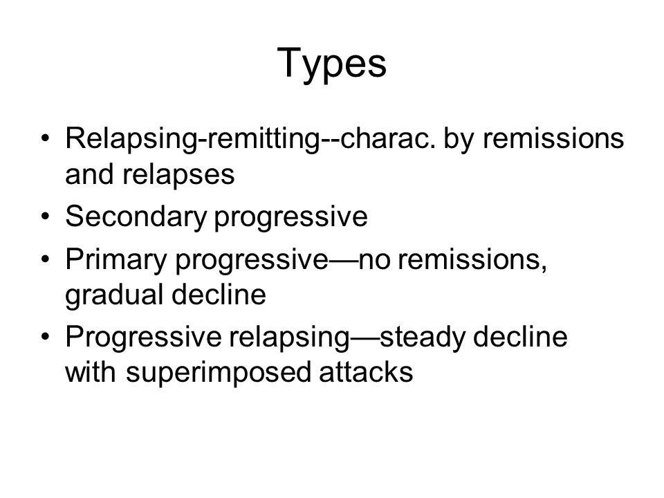 Types Relapsing-remitting--charac. by remissions and relapses