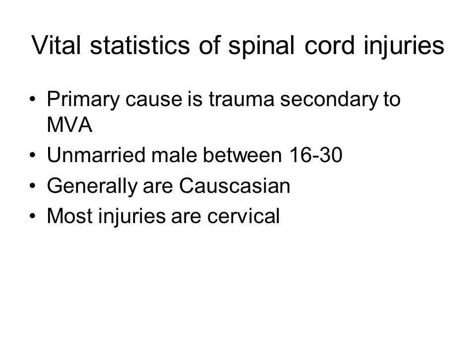 Vital statistics of spinal cord injuries
