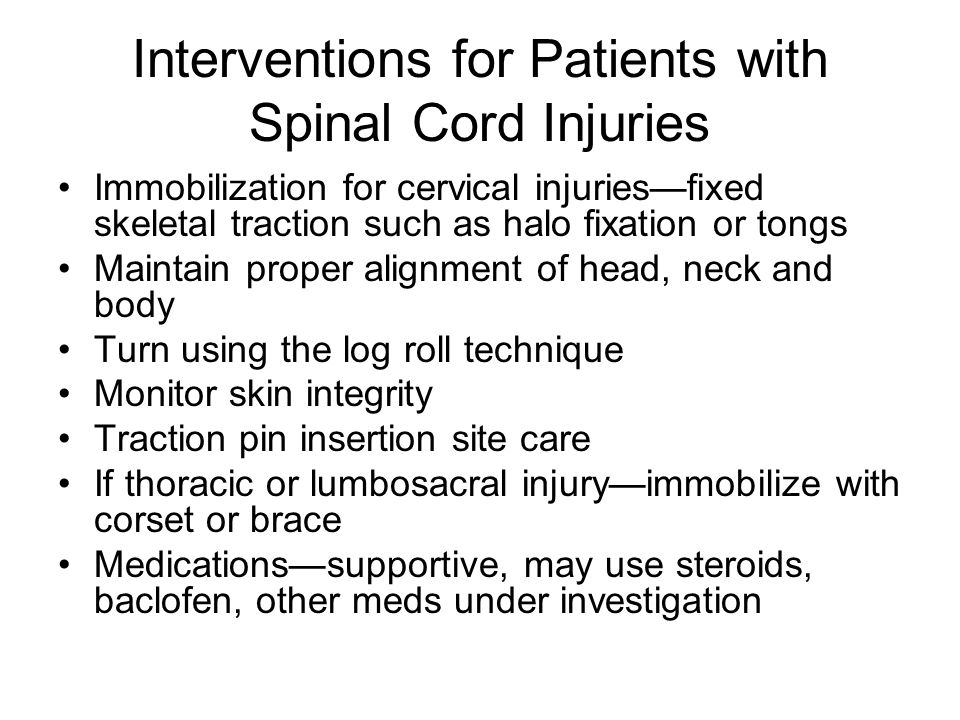 Interventions for Patients with Spinal Cord Injuries