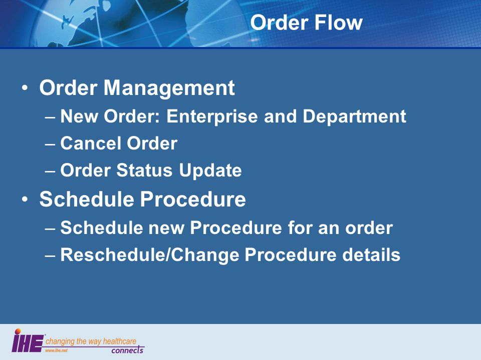 Order Flow Order Management Schedule Procedure