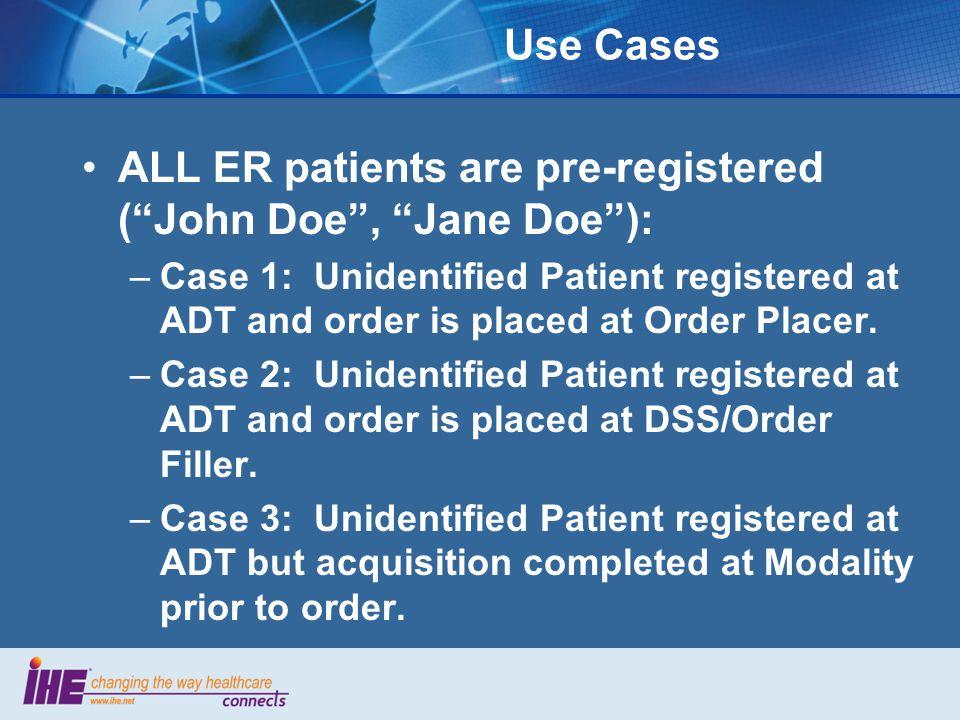 ALL ER patients are pre-registered ( John Doe , Jane Doe ):