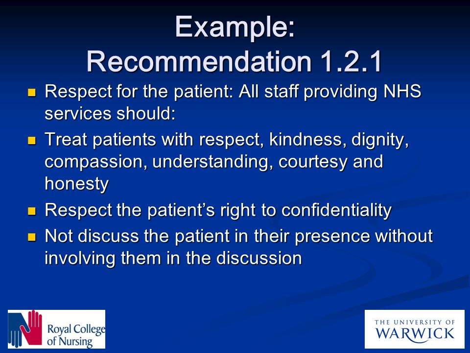Example: Recommendation 1.2.1
