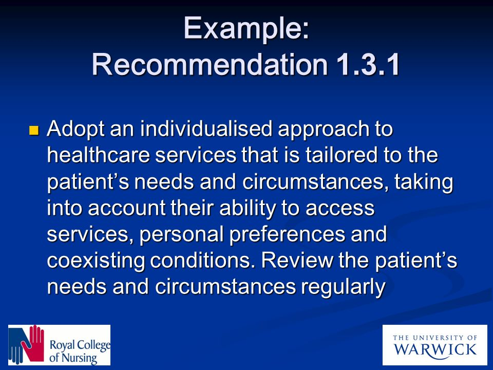 Example: Recommendation 1.3.1