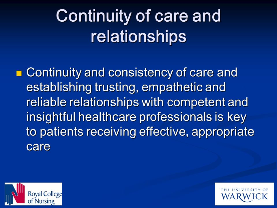 Continuity of care and relationships