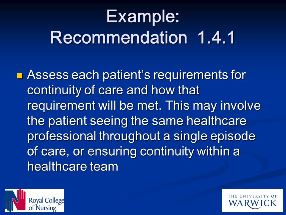 Example: Recommendation 1.4.1
