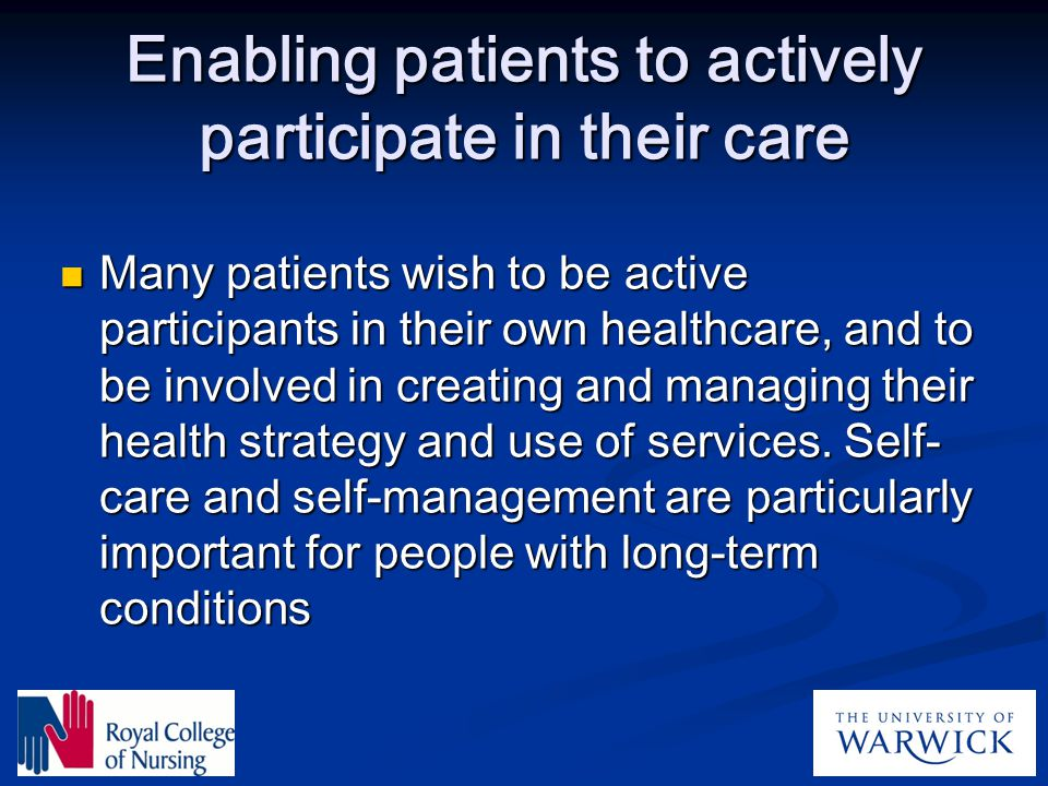 Enabling patients to actively participate in their care