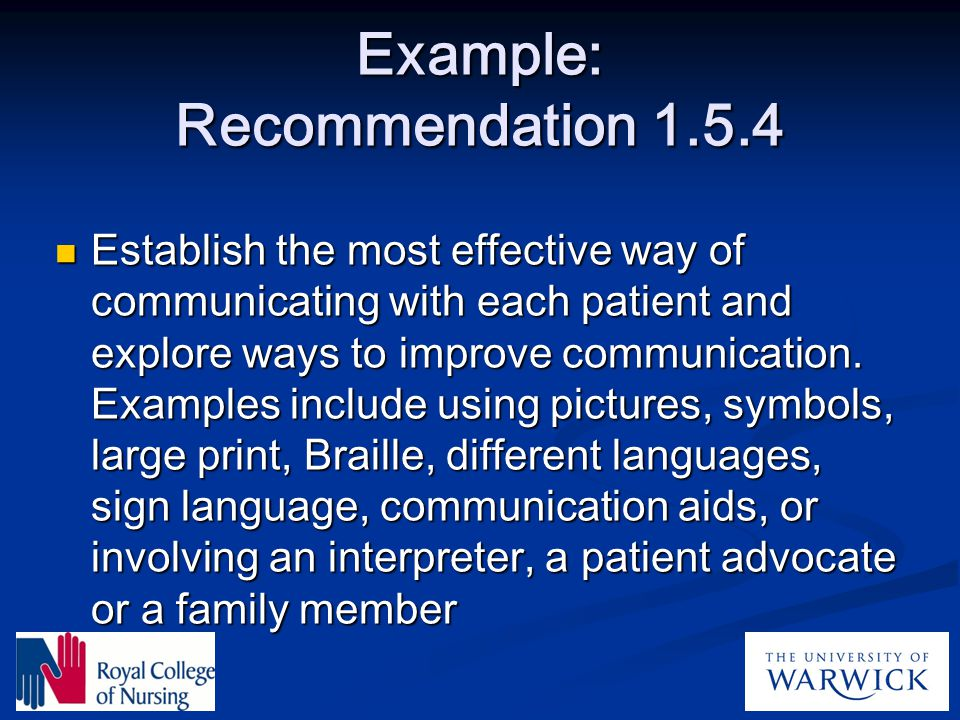 Example: Recommendation 1.5.4