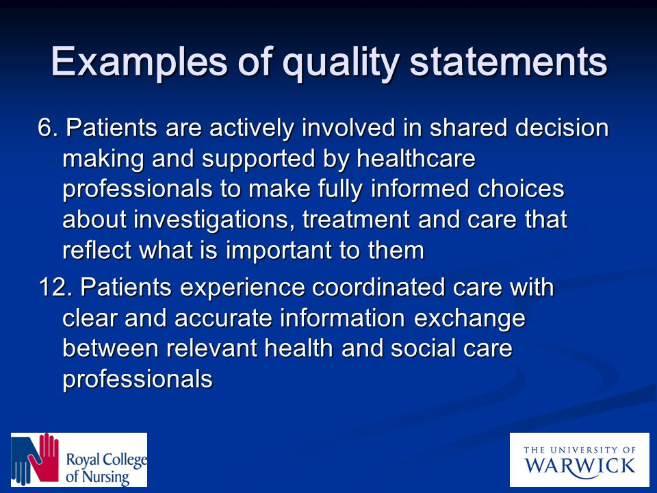 Examples of quality statements