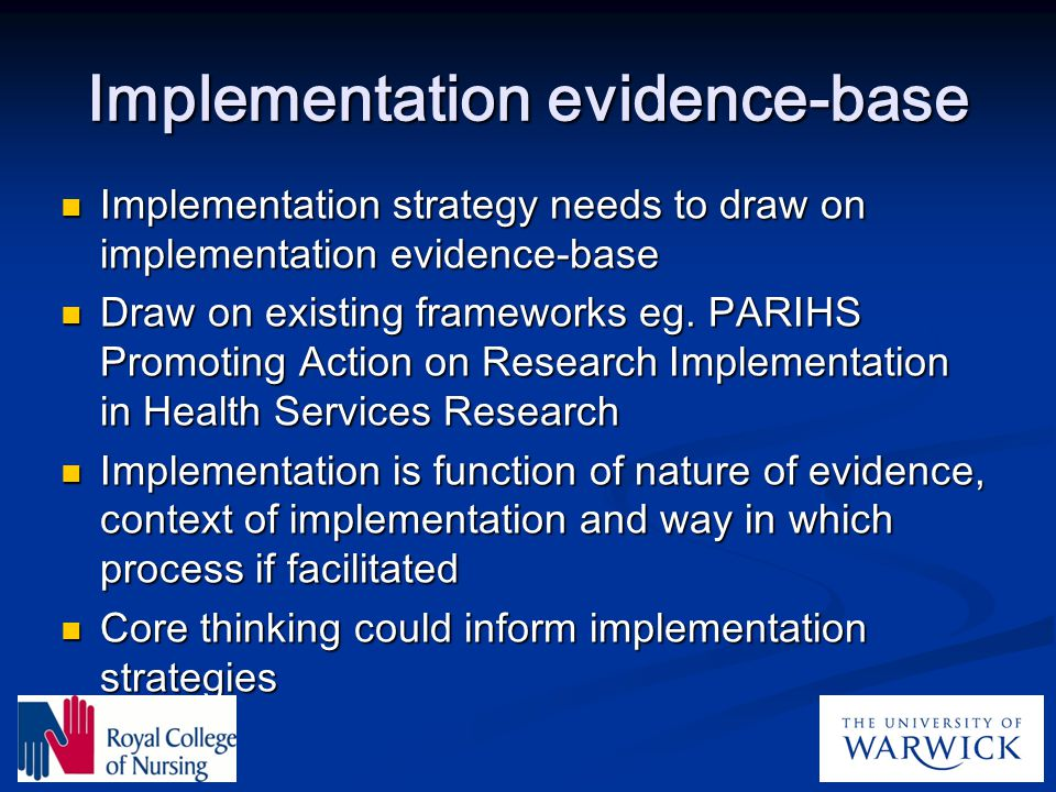 Implementation evidence-base
