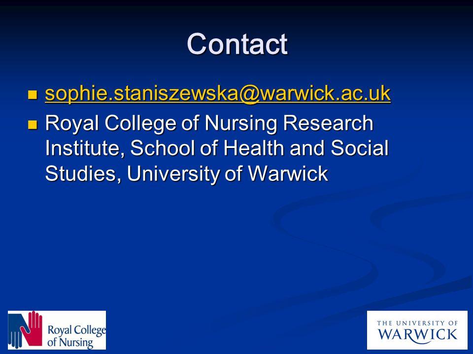 Contact sophie.staniszewska@warwick.ac.uk
