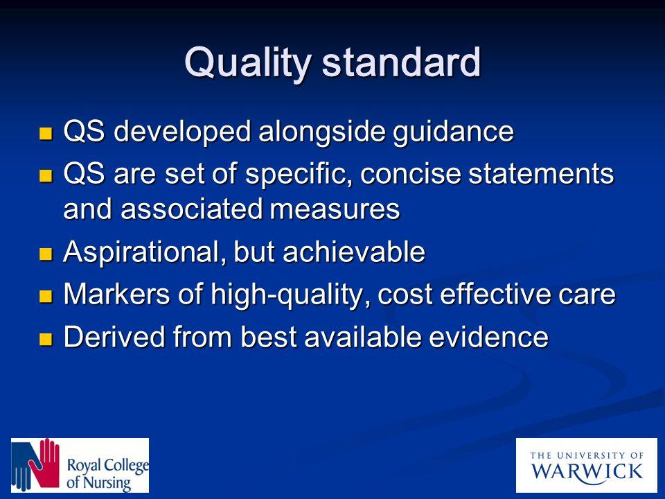 Quality standard QS developed alongside guidance