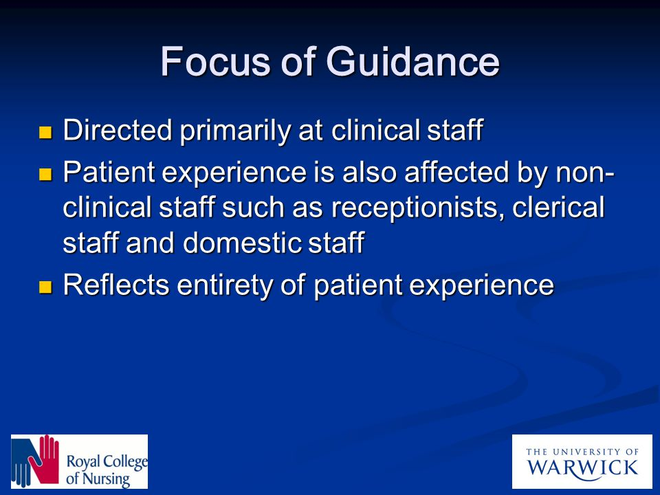 Focus of Guidance Directed primarily at clinical staff