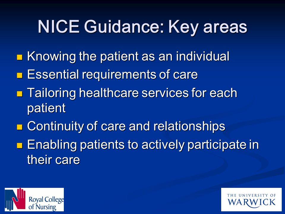 NICE Guidance: Key areas