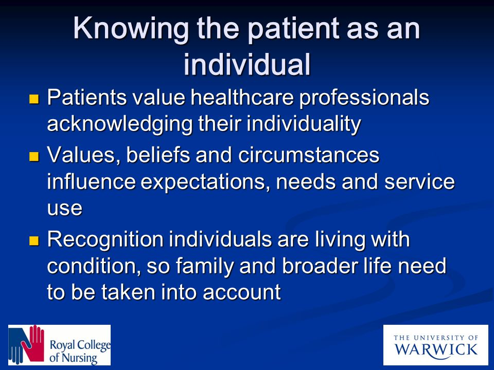Knowing the patient as an individual