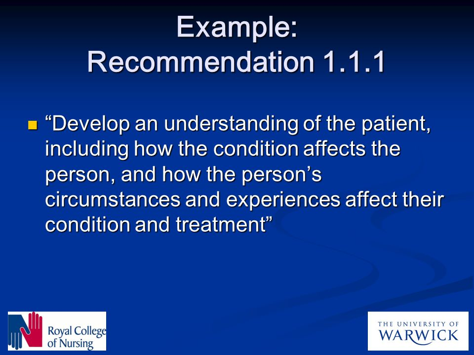 Example: Recommendation 1.1.1