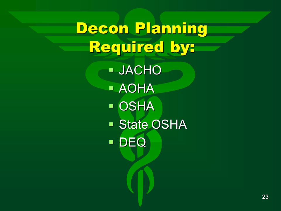 Decon Planning Required by:
