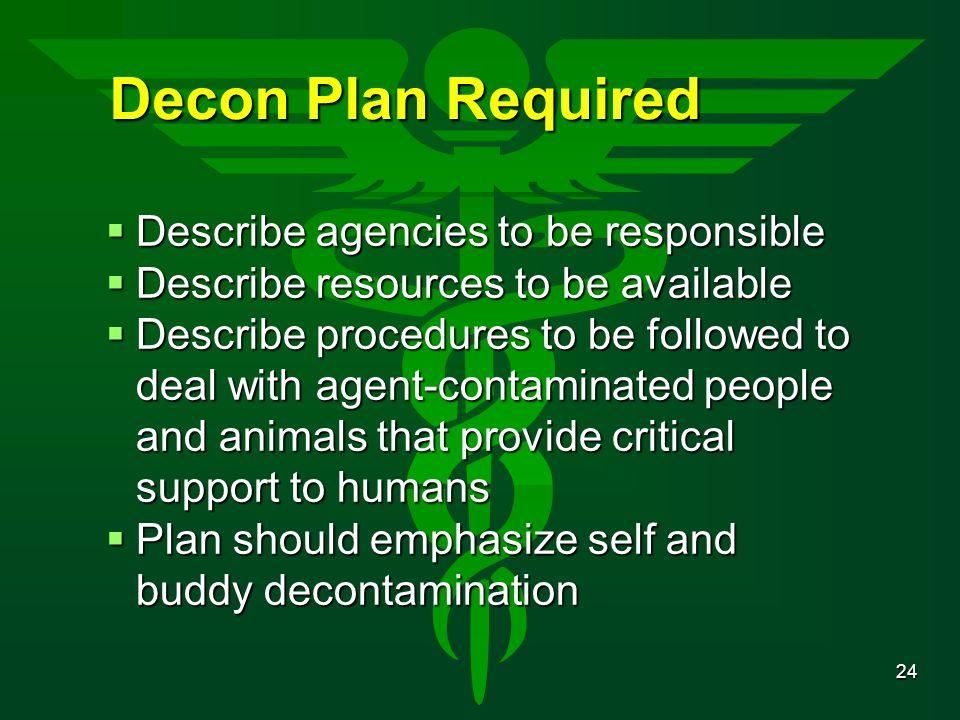 Decon Plan Required Describe agencies to be responsible