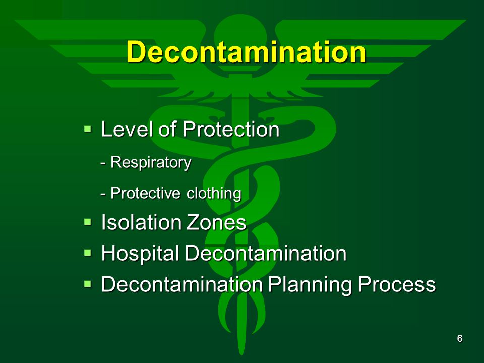 Decontamination Level of Protection - Respiratory
