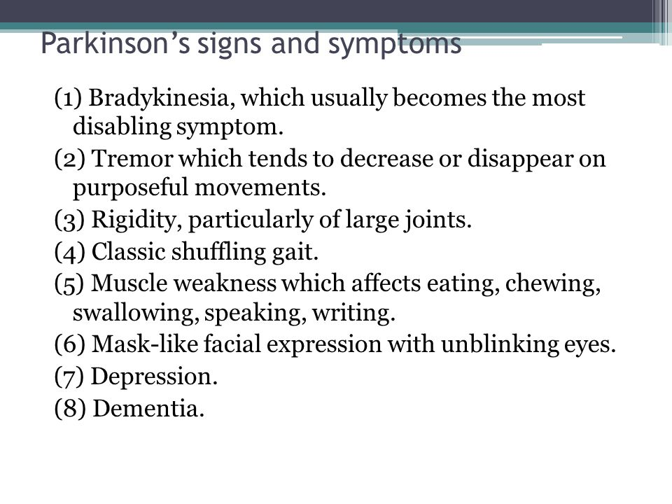 Parkinson's signs and symptoms